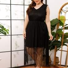 Nachtkleid mit V Kragen und Netzstoff