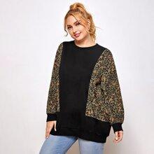 Gespleisstes Sweatshirt mit Grafik Muster