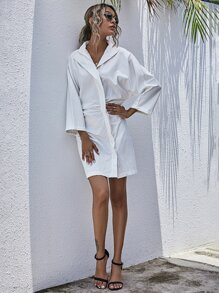 Solid Plicated Batwing Sleeve Dress