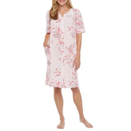 Adonna Womens Knit Robe Short Sleeve Knee Length, Large , Pink