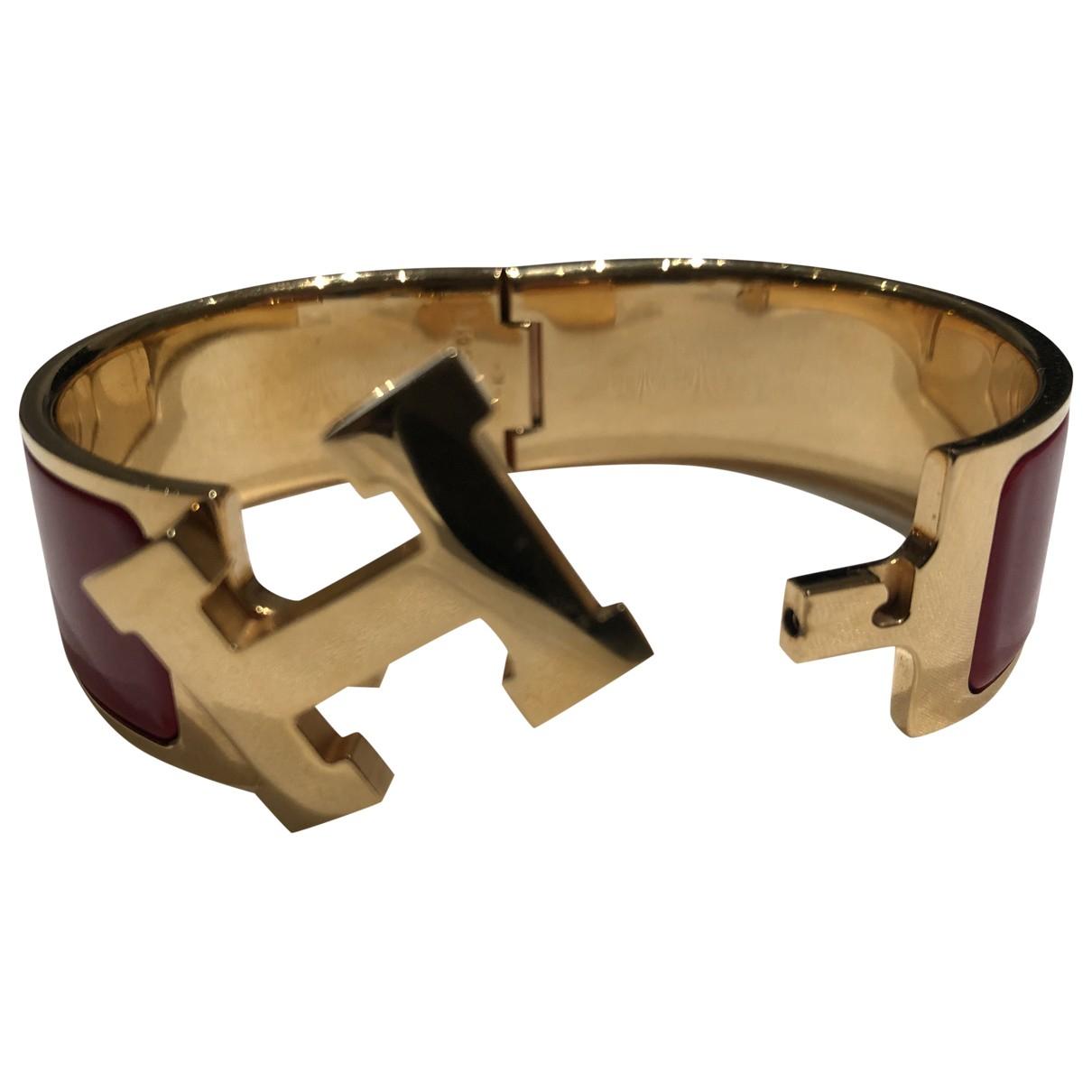 Hermes Clic H Armband in  Rot Vergoldet
