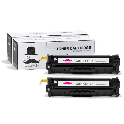 Compatible HP 305A CE413A cartouche de toner magenta - Moustache@ - 2/paquet