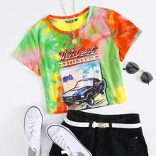 Crop T-Shirt mit Buchstaben & Auto Muster und Batik