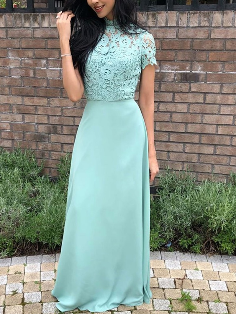 Ericdress Lace High Neck Short Sleeves Bridesmaid Dress