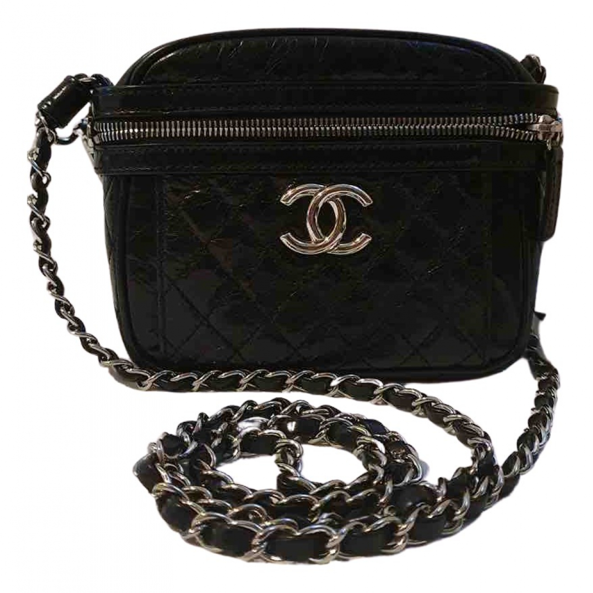 Chanel - Sac a main Camera pour femme en cuir - noir
