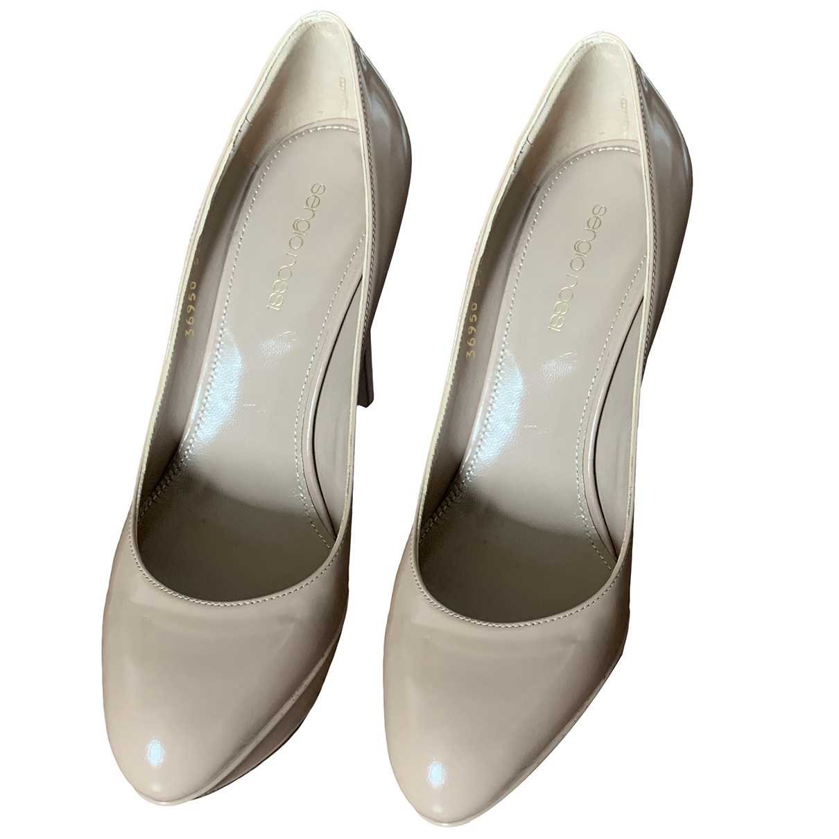 Sergio Rossi \N Beige Patent leather Heels for Women 38.5 EU