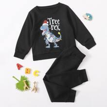 Sweatshirt mit Weihnachten Dinosaurier & Buchstaben Grafik & Jogginghose