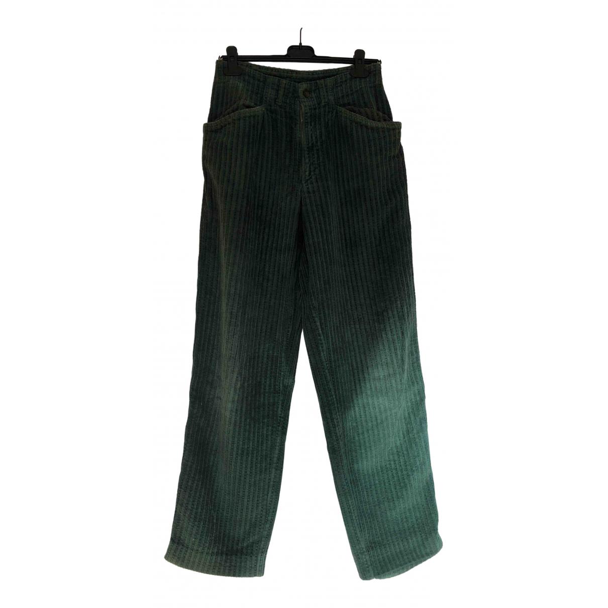 Benetton - Pantalon   pour homme en velours - vert