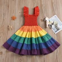 Toddler Girls Rainbow Striped Ruffle Hem Dress