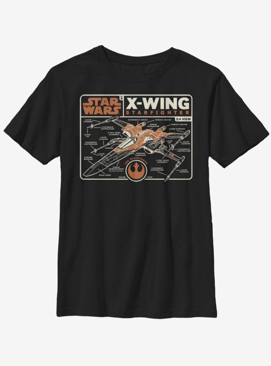 Star Wars Episode IX The Rise Of Skywalker Starfighter Schematic Youth T-Shirt
