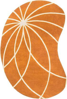 Forum FM-7175 6' x 9' kidney Modern Rug in Burnt Orange