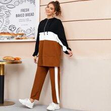 Conjunto capucha de color combinado con bolsillo con cremallera con pantalones