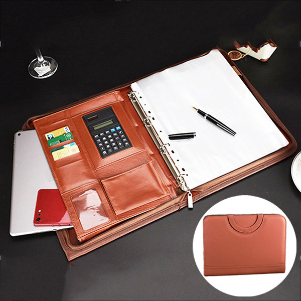 Multi-function Folder Zipper Briefcase Portable File Holder Handbag For Men