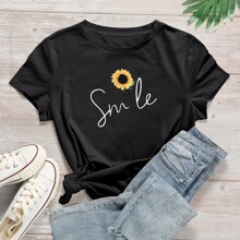 Plus Sunflower & Letter Graphic Tee