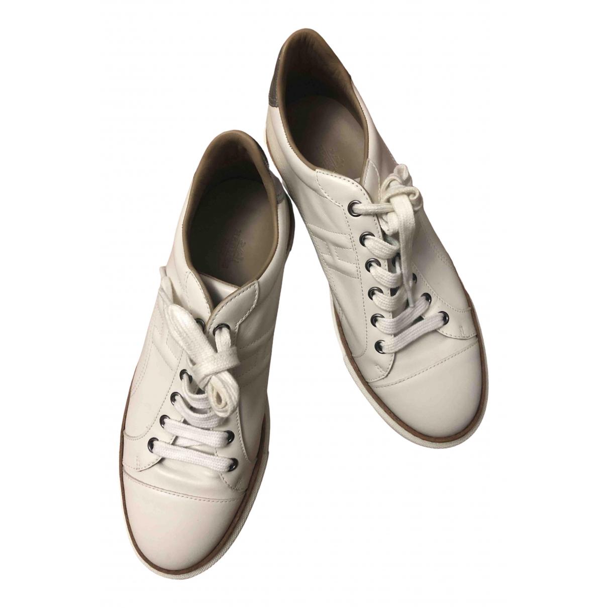 Hermes Polo Sneakers in  Weiss Leder