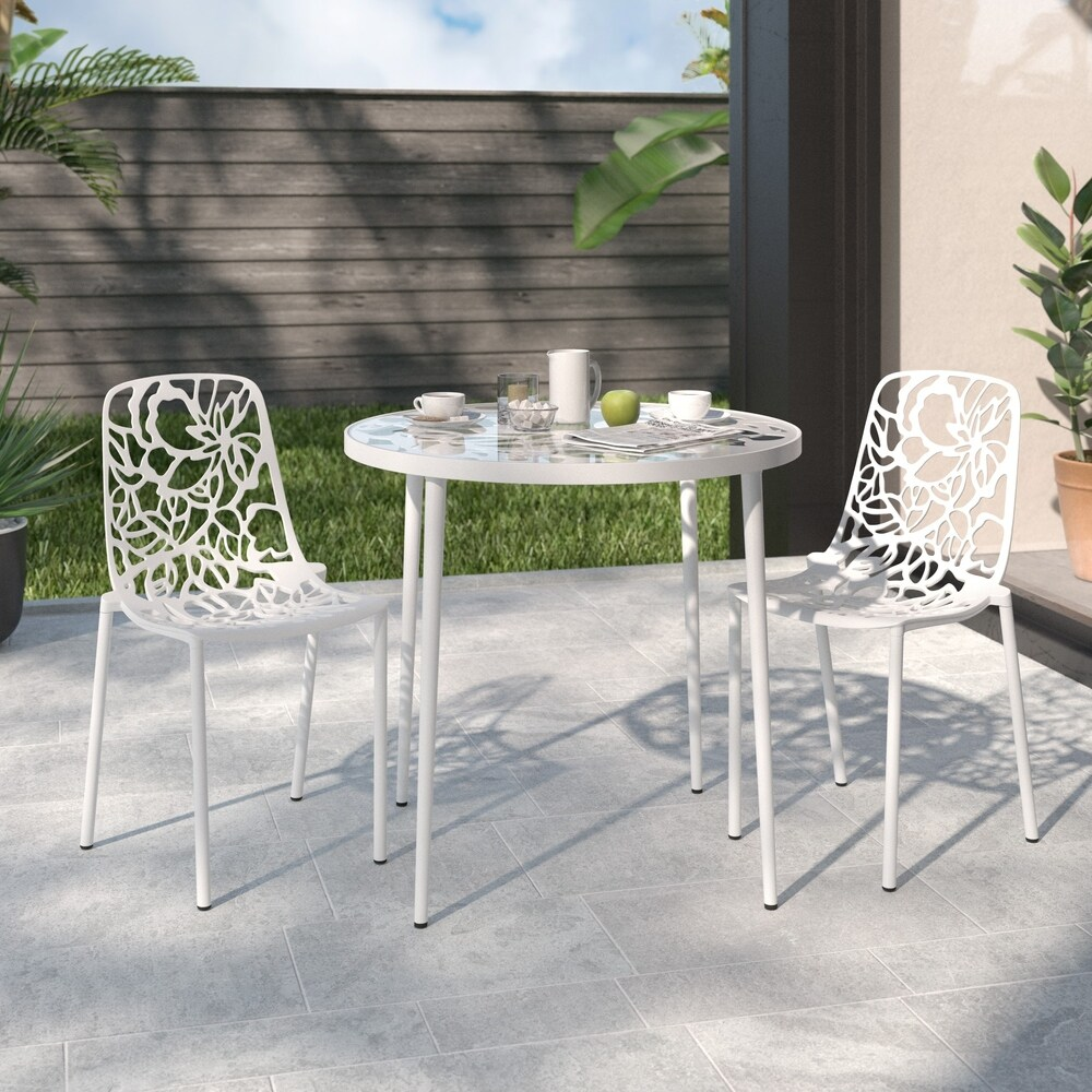 LeisureMod Devon White Aluminum Indoor Outdoor/Dining Chair Set of 2 (Set of 2)
