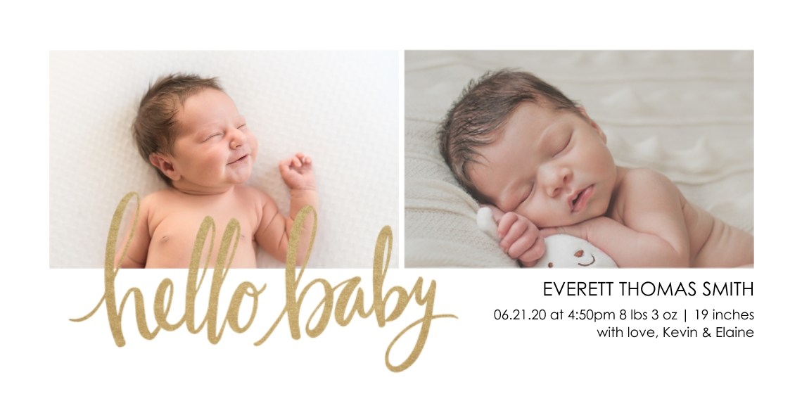 Baby Announcements Flat Matte Photo Paper Cards with Envelopes, 4x8, Card & Stationery -Hello Baby
