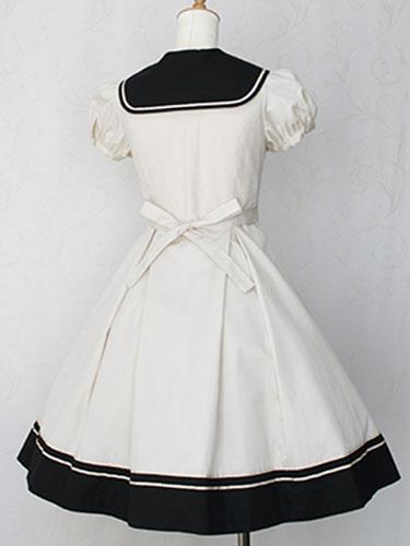 Milanoo Sweet Lolita Dress Sailor OP Cotton Bow Buttons Dark Navy Lolita One Piece Dress