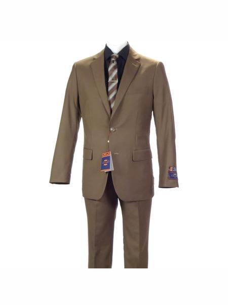 Carlo Lusso mens 2 button fully lined notch slim fit Khaki suit