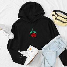 Crop Hoodie mit Rose Stickereien