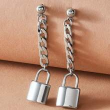 1pair Metallic Chain & Lock Decor Drop Earrings