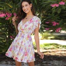 Vestido floral fruncido de espalda abierta con cordon de cintura fruncido