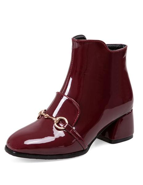 Milanoo High Heel Booties Women's Square Toe Metal Details Short Boots