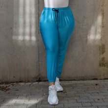 Plus Drawstring Waist Solid Joggers