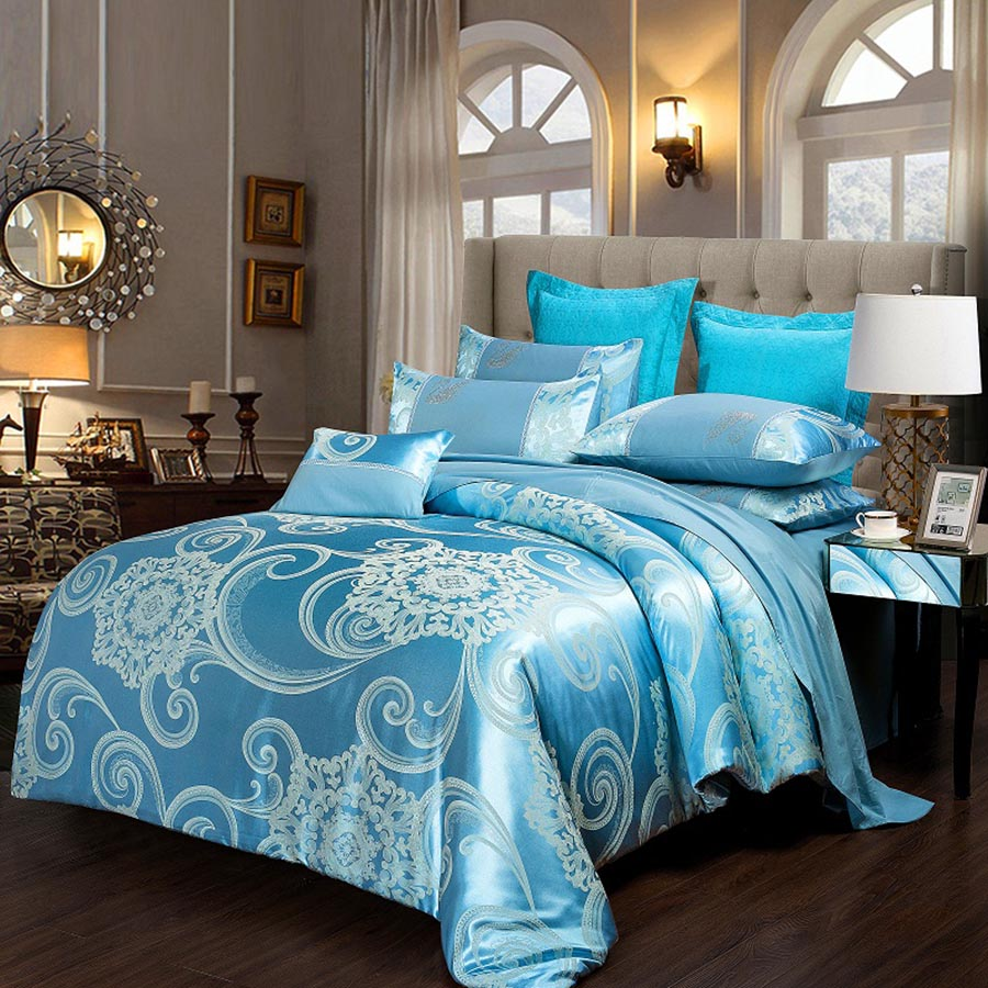Floral Jacquard Pattern Shiny Satin Blue 4-Piece Bedding Sets/Duvet Cover