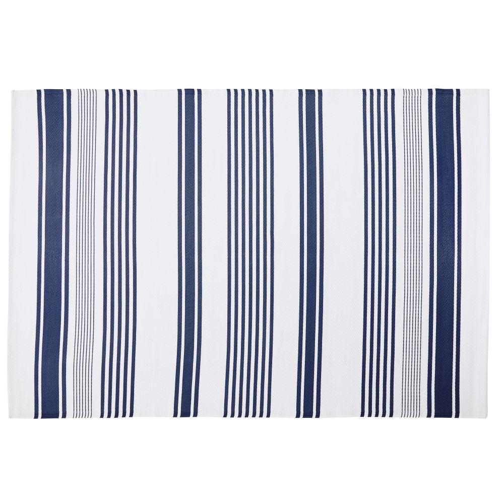 Outdoor-Teppich, ecrufarben mit blauem Streifenmuster 180x270