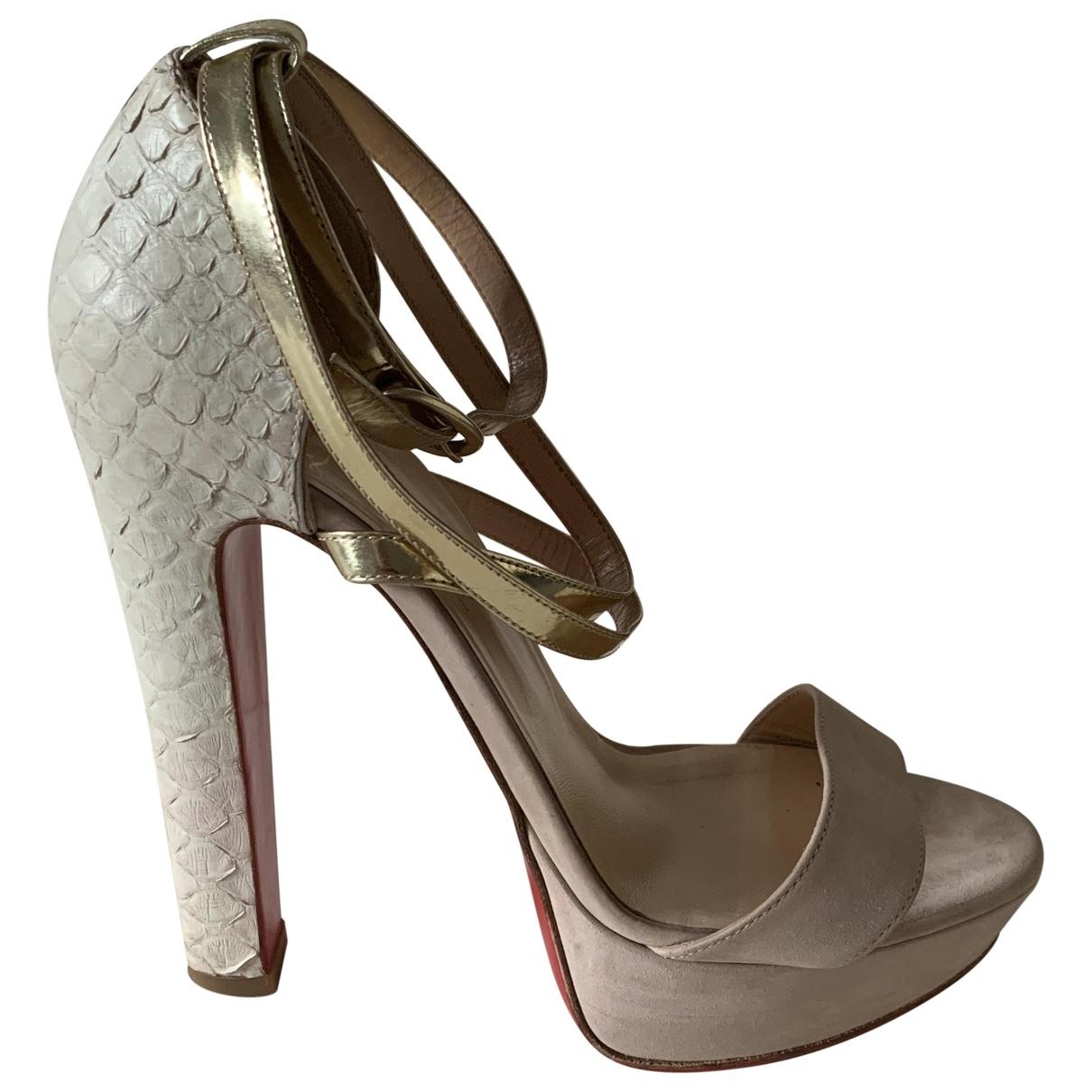Christian Louboutin \N Beige Suede Sandals for Women 6 UK