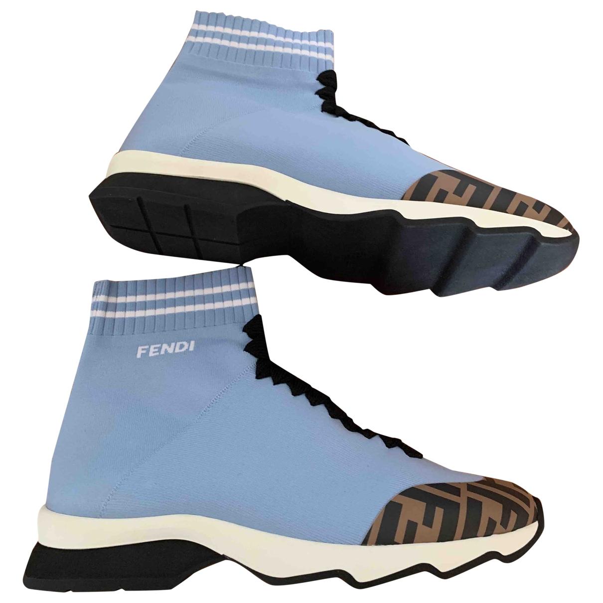 Fendi \N Sneakers in  Blau Leinen