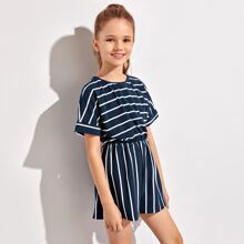 Girls Batwing Sleeve Striped Romper