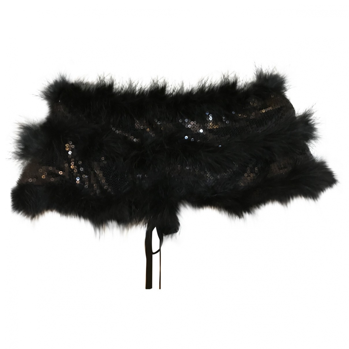 Non Signé / Unsigned \N Black Glitter scarf for Women \N