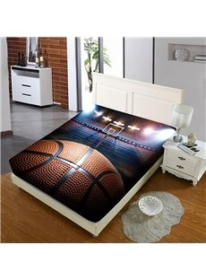 Basketball on The Basketball Court Reactive Printing 1-Piece Polyester Bed Cover / Mattress Cover