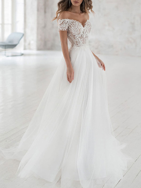 Milanoo Simple Wedding Dress Tulle Off The Shoulder Short Sleeves Lace A Line Bridal Gowns