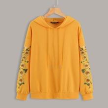 Floral Embroidery Drop Shoulder Hoodie