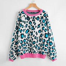Plus Leopard Pattern Sweater