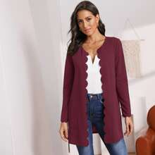 Mantel mit Bogenkante, seitlichen Taschen und offener Vorderseite