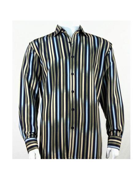 Full Cut Long Sleeve Multi Stripe Pattern Green Fashion Shirt