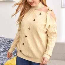 Schulterfreier Pullover mit gerolltem Kragen und Knopfen vorn