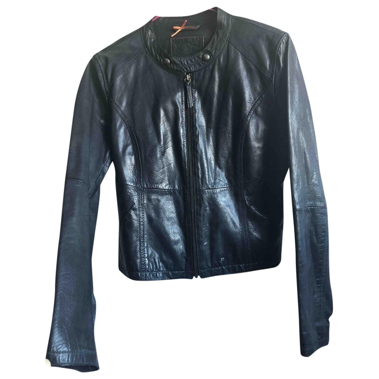 Boss Orange \N Navy Leather Leather jacket for Women 42 FR