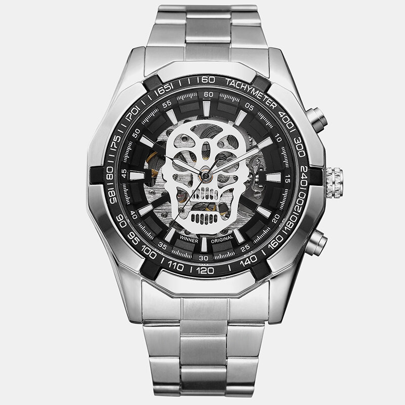 Trendy Sports Men Watches Hollow Dial Stainless Steel Band Waterproof Electronic Watches