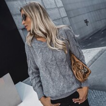Cable Knit Scoop Neck Sweater