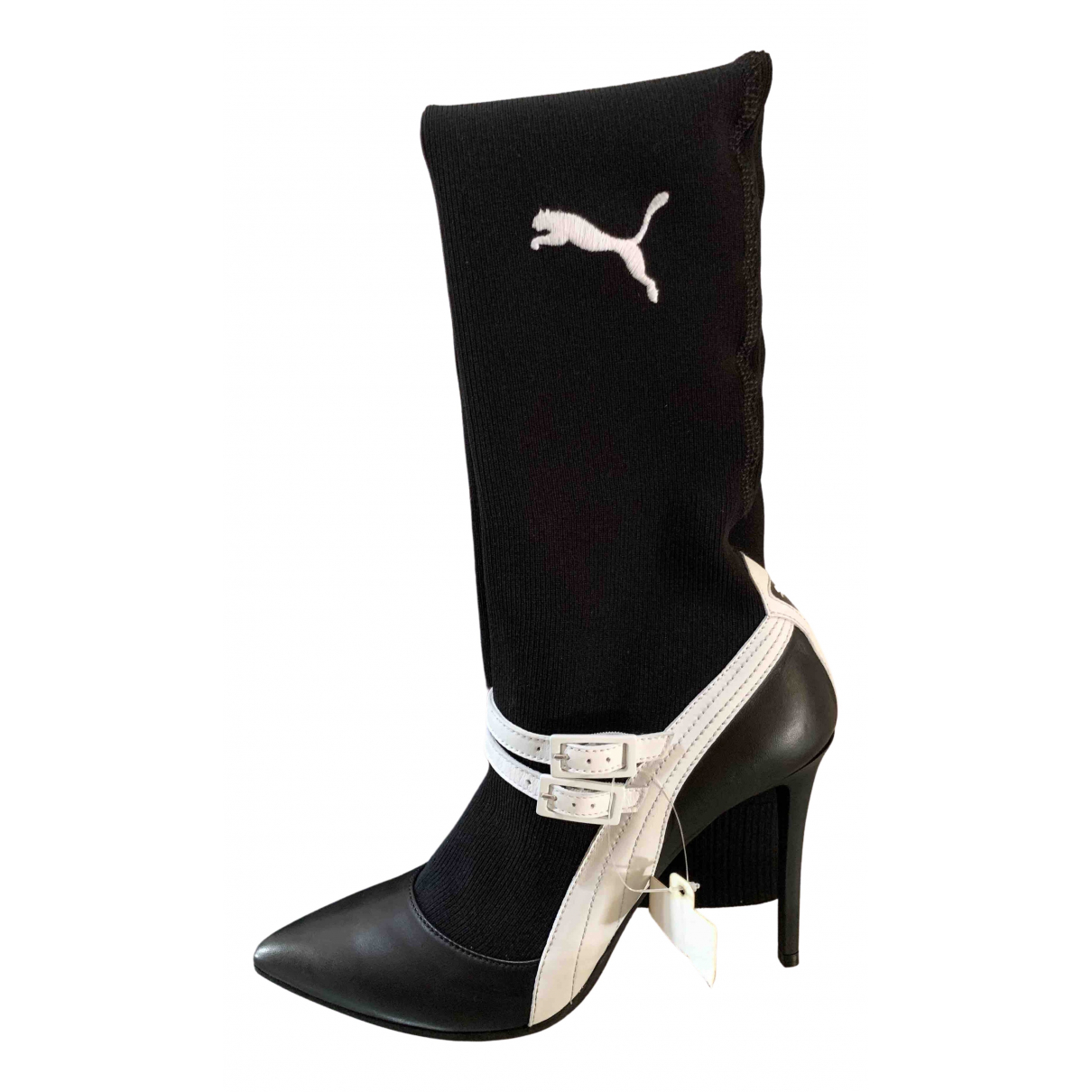Puma \N Black Leather Boots for Women 6 UK
