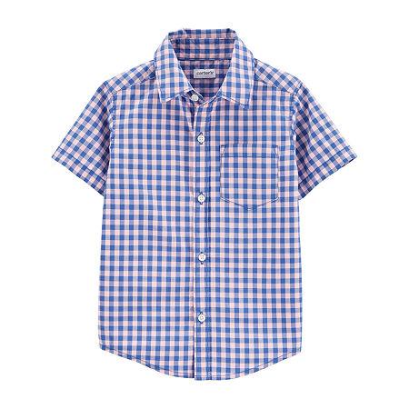 Carter's Toddler Boys Short Sleeve Button-Down Shirt, 5t , Pink