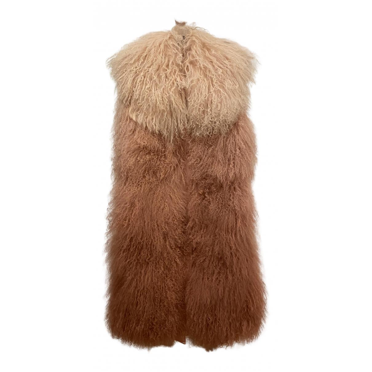 Moncler - Manteau Sleeveless pour femme en agneau de mongolie - rose