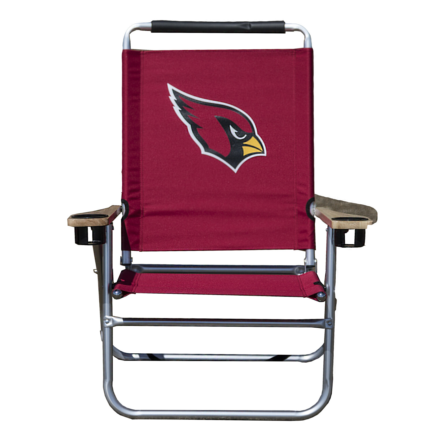 Officially Licensed Arizona Cardinals NFL Logo Beach Chair Features Dual Cup Holder and 3 Reclining Positions