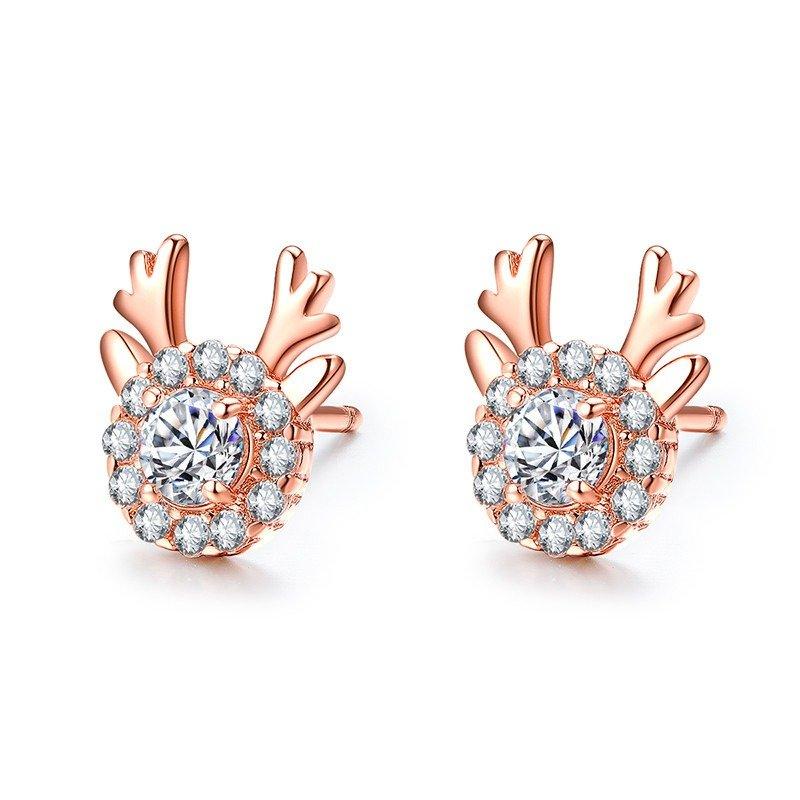 Fashion Elegant Ear Stud Zircon Retro Deer Earrings Sliver Rose Gold Women Earrings Stud
