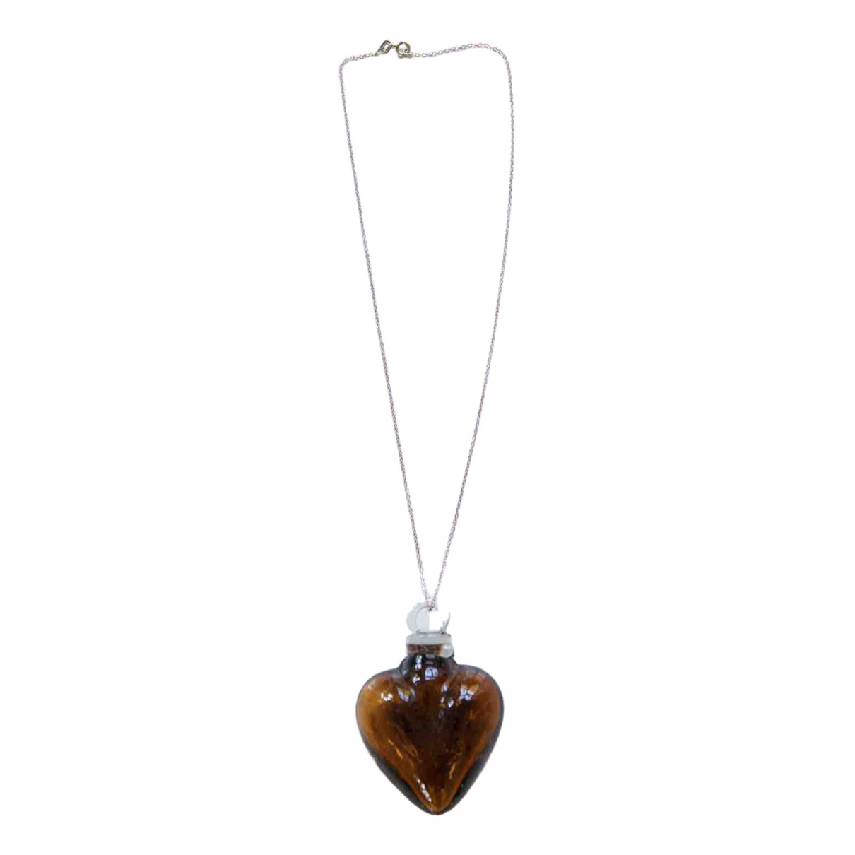 Non Signé / Unsigned Motifs Coeurs Brown Glass necklace for Women \N